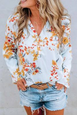 Summer Floral Print V Neck Blouse