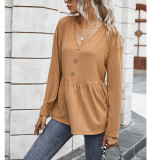 Solid V Neck Buttoned Loose Top