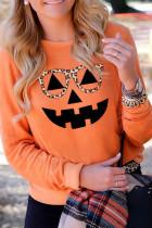 Halloween Pumpkin Leopard Smile Top