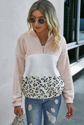 Colorblock Leopard Fluffy Sweatshirt with Hood