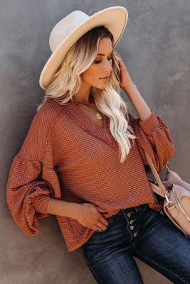 Solid Waffle Knitted Lantern Sleeve Top