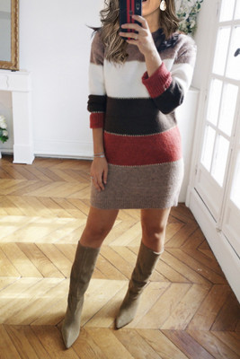 Colorblock Mini Sweater Dresses
