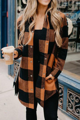 Turn-down Collar Pumpkin Plaid Shirt Coat
