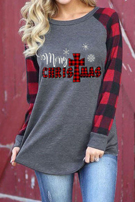 Merry Christmas Plaid Sleeve Top