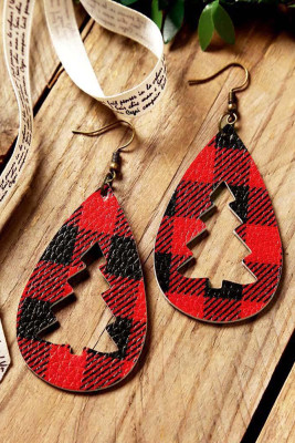 Christmas Tree Leopard Plaid Earrings