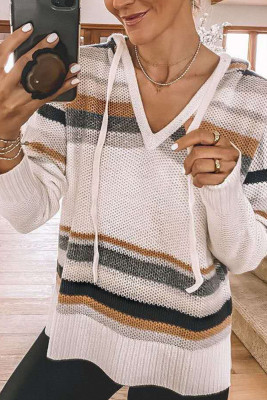 Knitted Striped Loose Sweaters with Hood