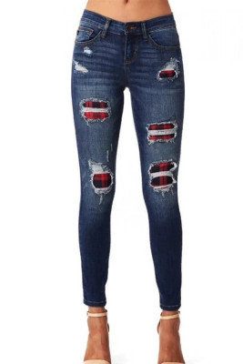 Patchwork Plaid Ripped Jeans