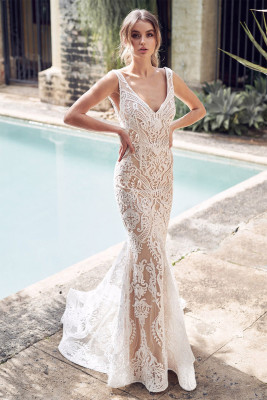 White V Neck Sequined Embroidering Tulle Mermaid Dress