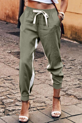 Green Casual Striped Drawstring Pants