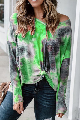 V-neck Knotted Green Tie-dye Top