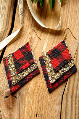 Red Plaid Sequin Earrings