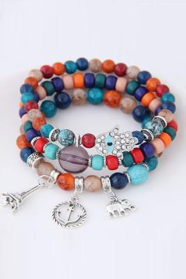 Multicolor Bohemian Ethnic Style Multi-layer Stretch Bead Bracelet