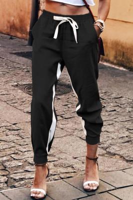 Black Casual Striped Drawstring Pants