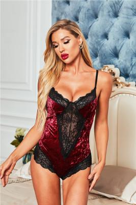 Red Velvet Lace Mesh Stitching Sexy Bodysuit