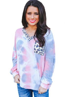 Long Sleeve Leopard Pocket Pink Tie Dye Top