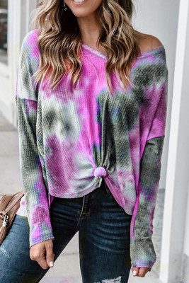V-neck Knotted Rose Tie-dye Top