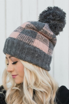 Gray Buffalo Plaid Beanie with Pom