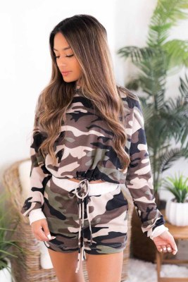 Camouflage Cropped Long Sleeve Hoodie & Drawstring Shorts