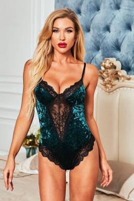 Green Velvet Lace Mesh Stitching Sexy Bodysuit