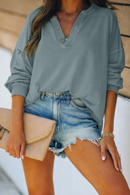 Green Buttoned V Neck Cotton Loose Fit Top