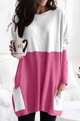 Rose Colorblock Casual Long Sleeve Tunic with Pockets