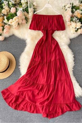 Red Off-the-shoulder Tiered Pleated Maxi Dress