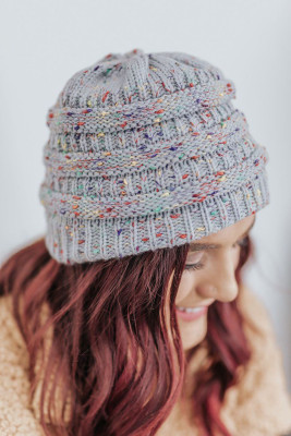 Gray Winter Colorful Knitted Ponytail Beanie