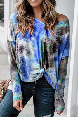 V-neck Knotted Blue Tie-dye Top