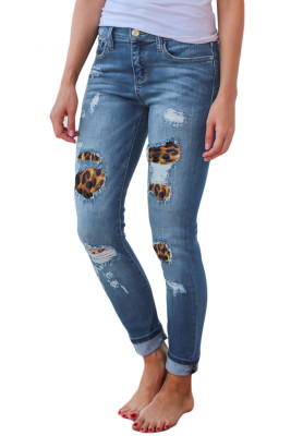 Patchwork Leopard Ripped Jeans