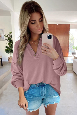 Pink Buttoned V Neck Cotton Loose Fit Top