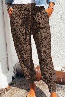 Brown Breezy Leopard Joggers