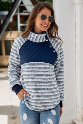 Sloping Neck Striped Fluffy Sweatshirts