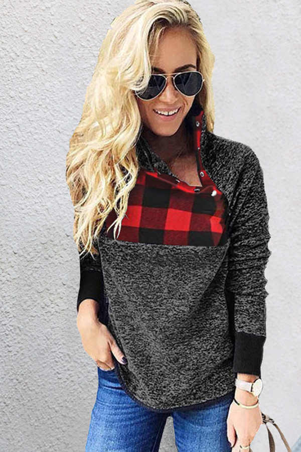 Sloping Neck Plaid Fluffy Sweatshirts