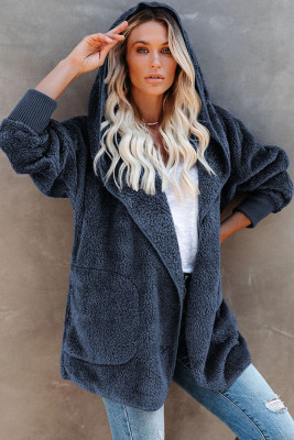 Fluffy Coat with Pockets and Hood