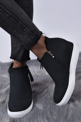 Black Wedges Platform Vulcanize Shoes