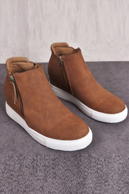 Brown Wedges Platform Vulcanize Shoes