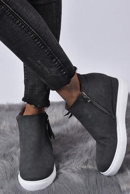 Gray Wedges Platform Vulcanize Shoes