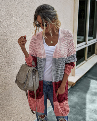 Wine Red Color Block Cardigan With Pockets
