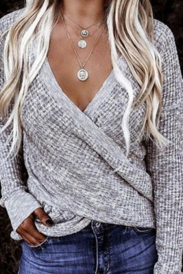 Waffle Knitted Wrap Loose Tops