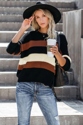 Black Button Detailed Color Block Knit Sweater
