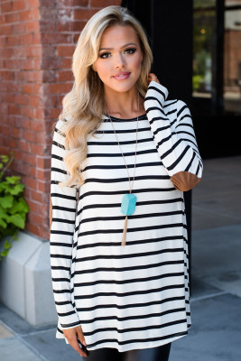 White Stripe Elbow Patch Button Back Tunic Top