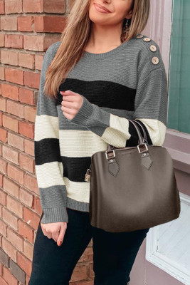 Gray Button Detailed Color Block Knit Sweater