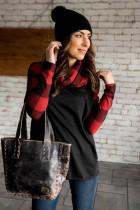 Black Cowl Neck Plaid Splice Casual Long Sleeve Top
