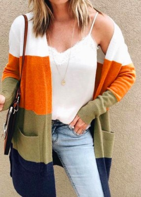 Color Block Knit Sweater Cardigan