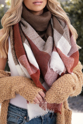 Plaid Knit Blanket Scarf