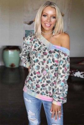 Leopard Tie-dye V Neck Sweatshirt