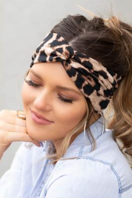 Brown Leopard Twist Headwrap