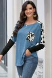 Sky Blue Long Sleeve Leopard Print T-shirt