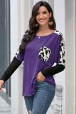 Purple Long Sleeve Leopard Print T-shirt
