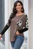 Brown Long Sleeve Leopard Print T-shirt